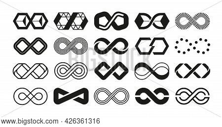 Loop Logo. Infinity Geometric Shape For Business Emblem. Endless Repetition And Mobius Ribbon. Black