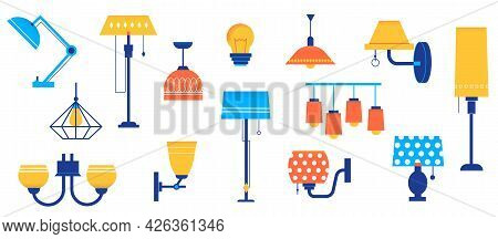 Doodle Lamps. Cartoon Floor And Table Lighting Equipment. Sconce With Bright Lampshades. Chandelier