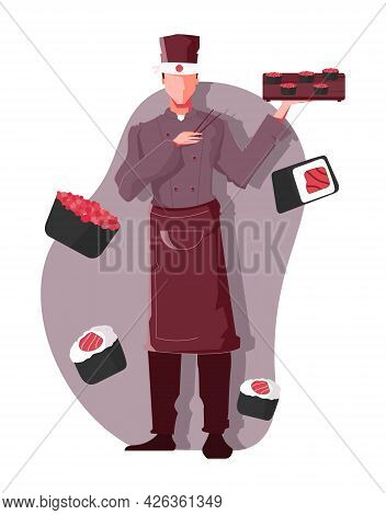 Flat Composition With Sushi Images And Male Waiter Holding Tray And Chopsticks Vector Illustration