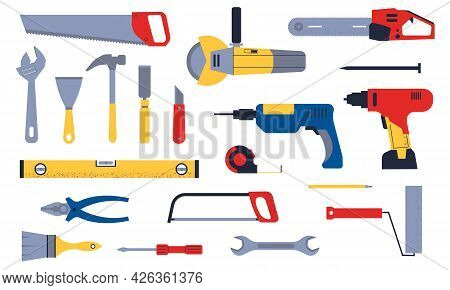 Construction Tools. Cartoon Carpentry And Mechanic Work Hardware. Plumber And Engineer Instruments S