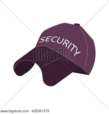Flat Black Security Baseball Cap On White Background Vector Illustration
