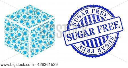 Infection Mosaic Sugar Cube Icon, And Grunge Sugar Free Seal Stamp. Sugar Cube Mosaic For Epidemic I