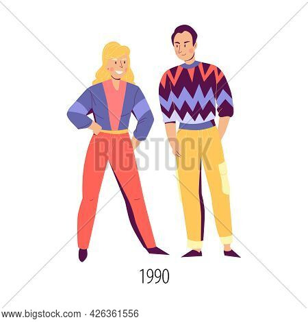 Male And Female Character Wearing Clothes In Fashion Of Nineties Flat Isolated Vector Illustration