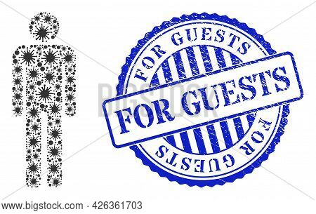 Covid-2019 Collage Man Figure Icon, And Grunge For Guests Badge. Man Figure Mosaic For Epidemic Imag