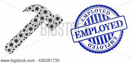 Infection Mosaic Hammer Tool Icon, And Grunge Employed Stamp. Hammer Tool Mosaic For Epidemic Templa
