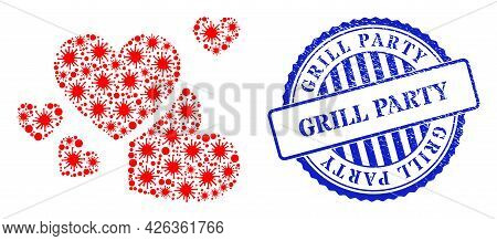 Bacilla Mosaic Love Hearts Icon, And Grunge Grill Party Stamp. Love Hearts Collage For Pandemic Imag