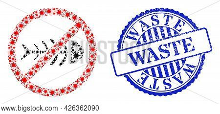 Covid-2019 Collage Stop Toxic Waste Icon, And Grunge Waste Stamp. Stop Toxic Waste Collage For Epide