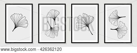 Set Of Creative Minimalist Hand Draw Illustrations Floral Outline Ginkgo Biloba Leaves Linear Black