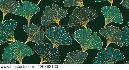 Seamless Pattern Of Hand Draw Illustrations Floral Outline Golden Ginkgo Biloba Leaves On Black Back