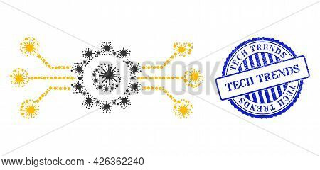 Virus Collage Hitech Gear Icon, And Grunge Tech Trends Seal. Hitech Gear Mosaic For Breakout Images,