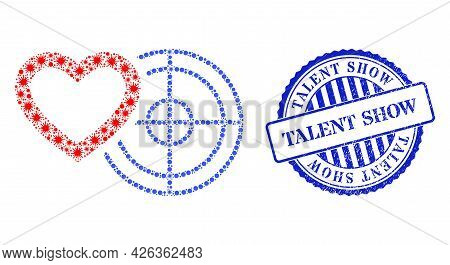 Virus Collage Romantic Heart Target Icon, And Grunge Talent Show Seal Stamp. Romantic Heart Target C
