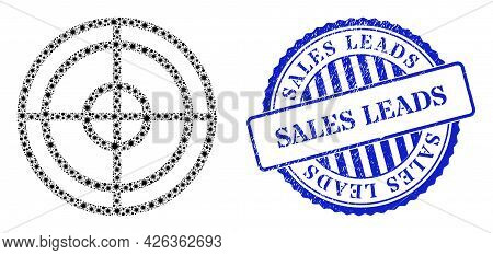 Bacterium Collage Target Icon, And Grunge Sales Leads Stamp. Target Collage For Pandemic Images, And