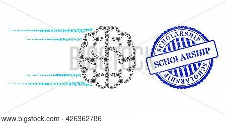 Bacterium Mosaic Rush Brain Icon, And Grunge Scholarship Badge. Rush Brain Mosaic For Pandemic Templ