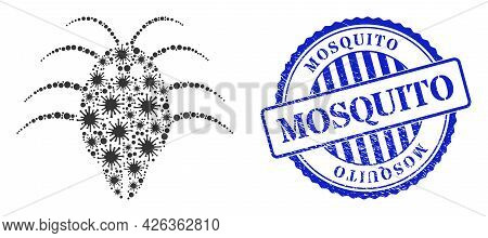 Covid-2019 Collage Parasite Icon, And Grunge Mosquito Badge. Parasite Collage For Epidemic Images, A