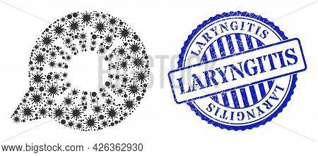 Bacilla Mosaic Viral Message Icon, And Grunge Laryngitis Seal Stamp. Viral Message Mosaic For Epidem