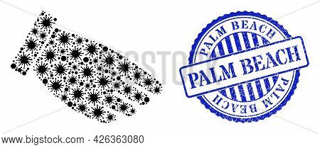 Contagious Mosaic Hand Palm Icon, And Grunge Palm Beach Seal Stamp. Hand Palm Collage For Pandemic I