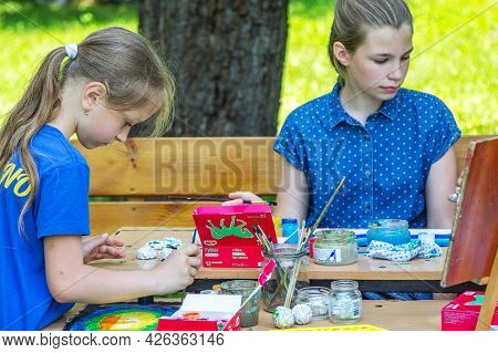 Zaporizhia, Ukraine- June 19, 2021: Charity Family Festival:  Girls Participating At Art And Craft O