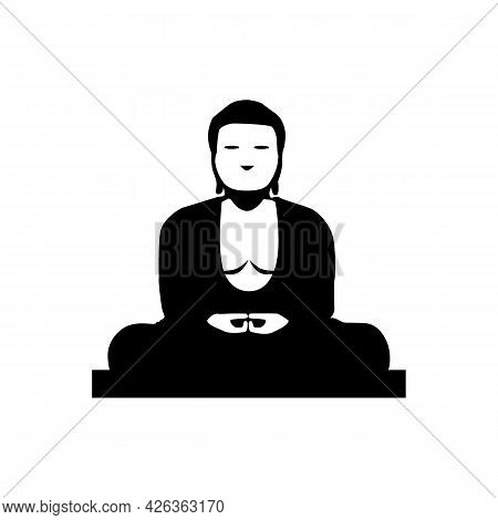 Statue Of Buddha Vector Icon. Filled Flat Sign For Mobile Concept And Web Design. Sitting Buddha Gly