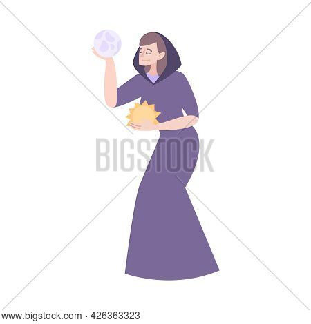 Flat Character Of Female Seer Holding Sun And Earth Vector Illustration