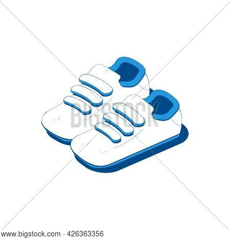 Isometric Icon With 3d Trainers Sneakers Sport Shoes Vector Illustration
