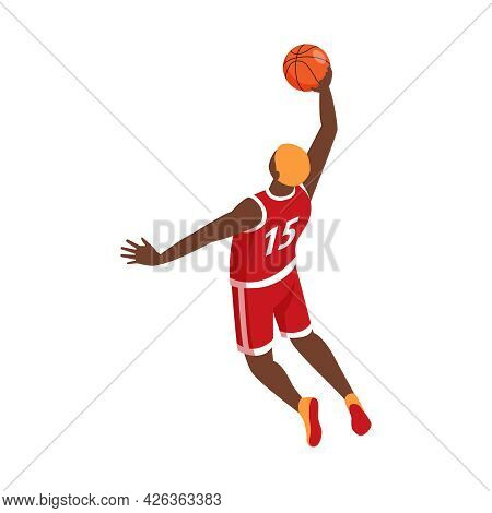 Dunking Basketball Player Isometric Icon 3d Vector Illustration