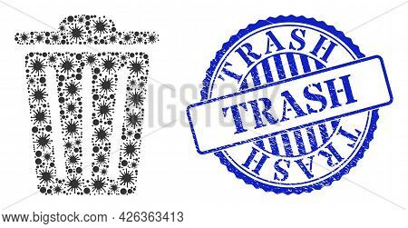 Covid Collage Trash Can Icon, And Grunge Trash Seal Stamp. Trash Can Collage For Medical Images, And