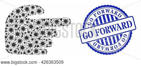 Viral Collage Right Index Finger Icon, And Grunge Go Forward Stamp. Right Index Finger Collage For I