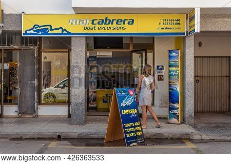 Colonia De Sant Jordi, Spain; July 02 2021: A Store Selling Tickets For Touristics Boat Trips To The