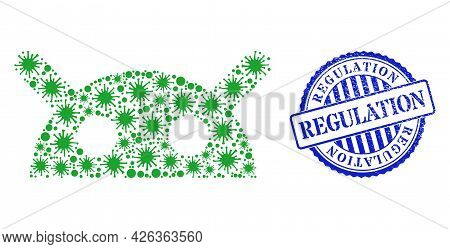 Covid Collage Robot Head Icon, And Grunge Regulation Seal Stamp. Robot Head Mosaic For Medical Image