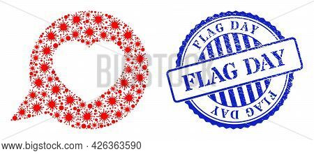Virus Collage Love Message Icon, And Grunge Flag Day Seal. Love Message Collage For Medical Template