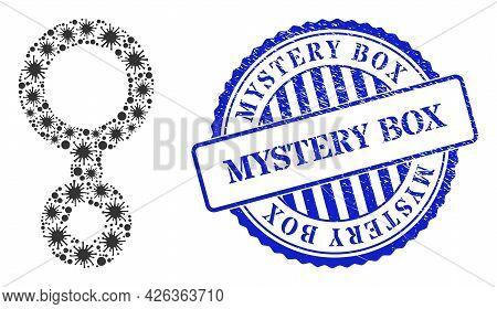 Virulent Mosaic Third Gender Symbol Icon, And Grunge Mystery Box Seal Stamp. Third Gender Symbol Mos