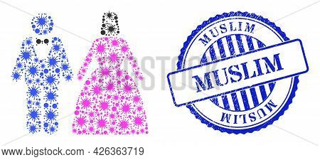 Infection Mosaic Muslim Marriage Couple Icon, And Grunge Muslim Seal. Muslim Marriage Couple Collage