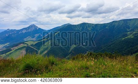 View Of The Kraviarske Peak In Mala Fatra, Slovakia. Green Hilly Forested Landscape.