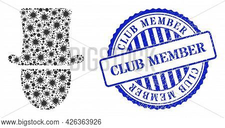 Contagious Collage Hat Man Icon, And Grunge Club Member Seal Stamp. Hat Man Collage For Medical Temp