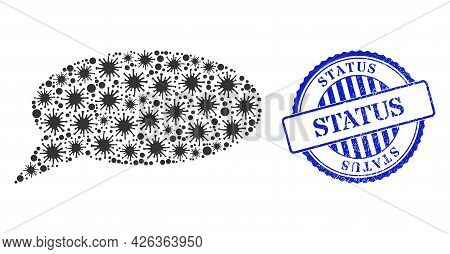 Infection Mosaic Message Cloud Icon, And Grunge Status Seal. Message Cloud Mosaic For Medical Templa