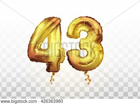 Vector Golden Foil 43 Number Forty Three Metallic Balloon. Party Decoration Golden Balloons. Anniver