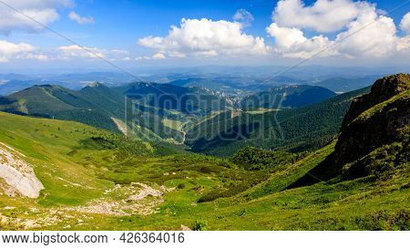 Green Mountain Ridge In Nice Weather, With Blue Sky And White Clouds. Vratna Dolina, Mala Fatra, Slo