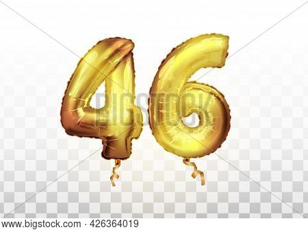 Golden Foil Number 46 Forty Six Metallic Balloon. Party Decoration Golden Balloons. Anniversary Sign