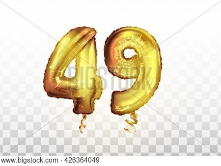 Vector Golden Foil Number 49 Forty Nine Metallic Balloon. Party Decoration Golden Balloons. Annivers