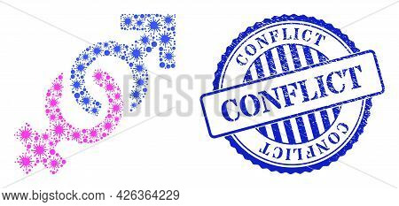 Cell Mosaic Gender Confrontation Symbol Icon, And Grunge Conflict Seal Stamp. Gender Confrontation S
