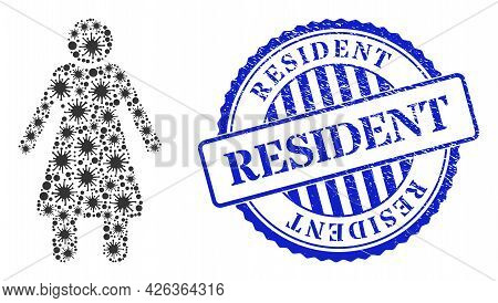 Contagious Collage Old Woman Icon, And Grunge Resident Seal Stamp. Old Woman Collage For Isolation I