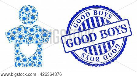 Viral Collage Lover Boy Icon, And Grunge Good Boys Seal. Lover Boy Mosaic For Breakout Images, And G