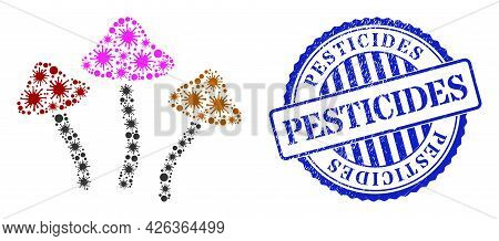 Contagious Mosaic Psychedelic Mushrooms Icon, And Grunge Pesticides Badge. Psychedelic Mushrooms Mos
