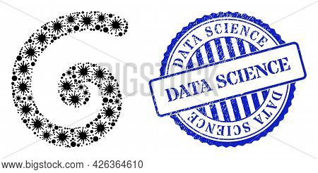 Virus Mosaic Spiral Icon, And Grunge Data Science Seal Stamp. Spiral Mosaic For Pandemic Templates,