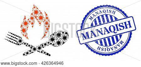 Bacilla Mosaic Hot Food Icon, And Grunge Manaqish Seal Stamp. Hot Food Mosaic For Epidemic Templates
