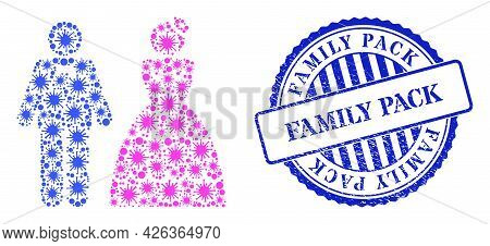 Covid-2019 Collage Wedding Pair Icon, And Grunge Family Pack Seal Stamp. Wedding Pair Collage For Br