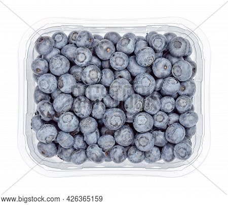 Fresh Blueberries In A Clear Plastic Container. Dark Blue Colored, Ripe, Raw Fruits Of Vaccinium Cor