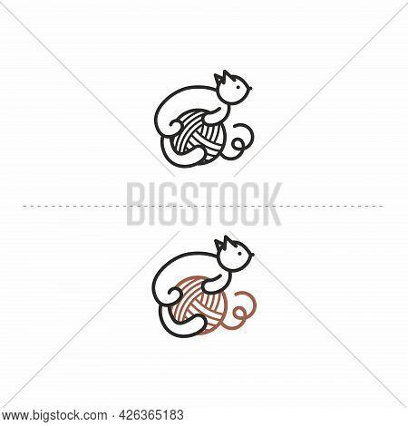 Handmade Logo With Yarn . Cat And Yarn. Logo For Knitting. Yarn Icon.