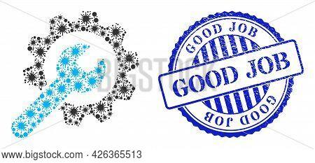 Bacilla Mosaic Service Wheel Icon, And Grunge Good Job Badge. Service Wheel Mosaic For Epidemic Temp