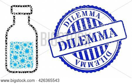 Covid Mosaic Vial Icon, And Grunge Dilemma Seal Stamp. Vial Mosaic For Isolation Images, And Texture